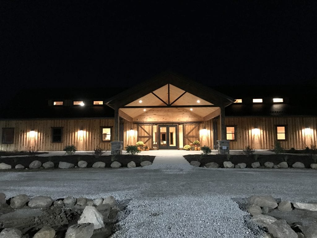 Country Lane Lodge at Night – Front View