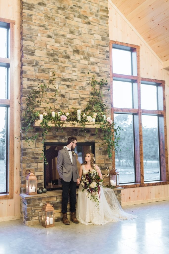 Bride & Groom – Country Lane Lodge Fireplace