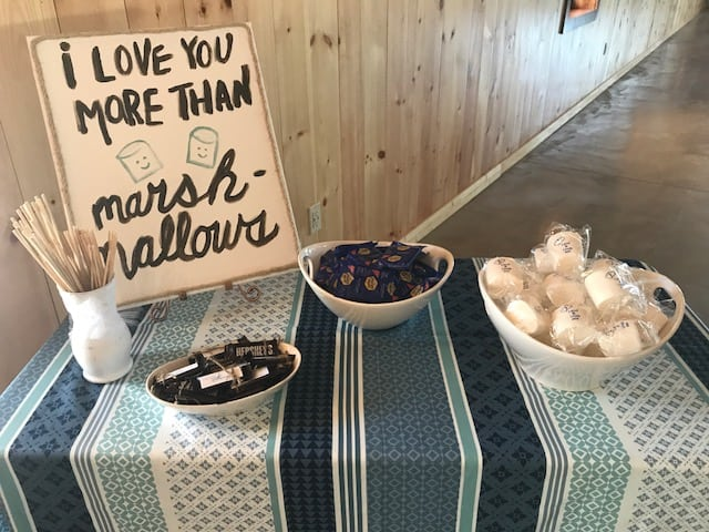 S'mores Bar at Country Lane Lodge's Fire Pit