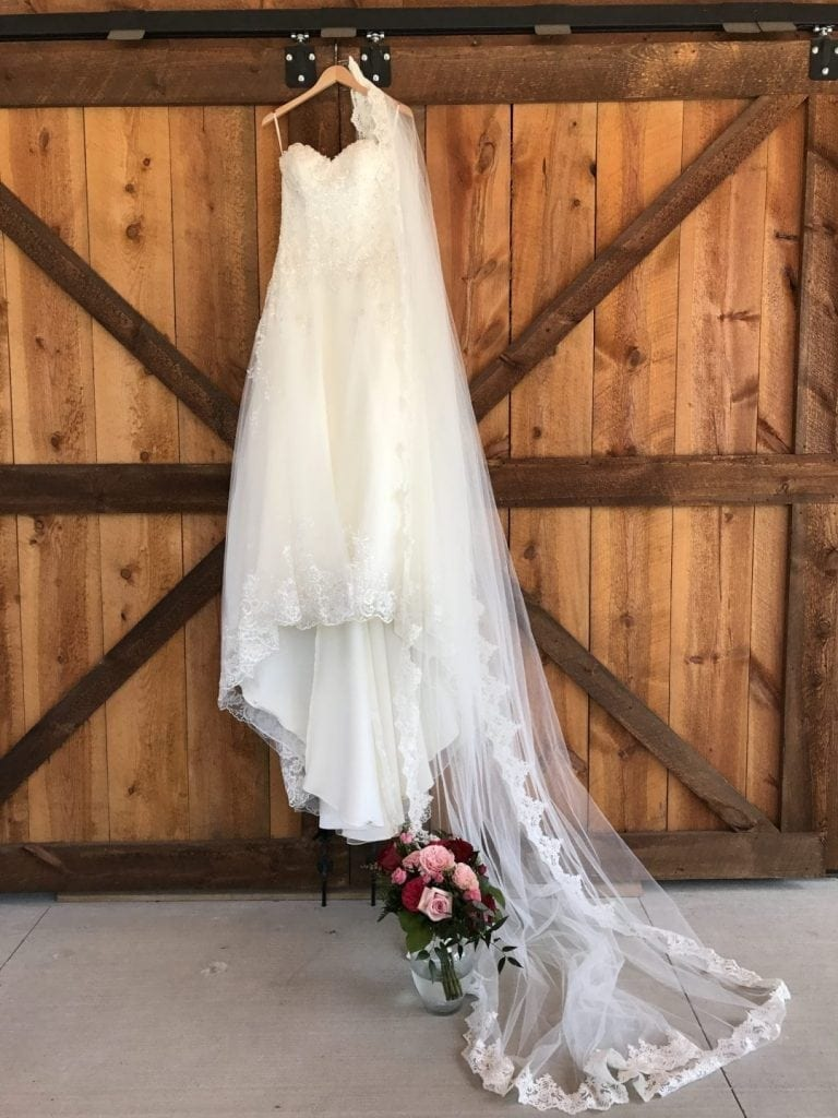 Wedding Dress on Barn Doors