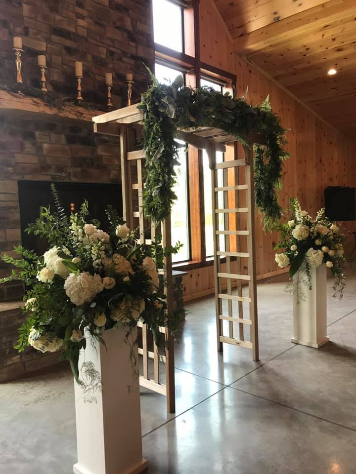 Inside wedding arbor